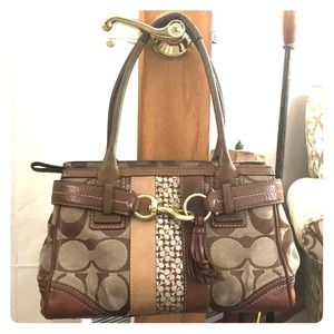 Coach leather fabric jacquard satchel j0673-10544